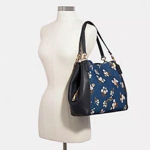 🆕 Coach Floral Denim Hallie Shoulder Bag 91047